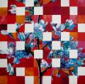 Hanami # 80 - 2011 - Acrylic on paper stuck on canvas - 100 X 100 cm