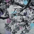 Hanami # 93 - 2011 - Acrylic on paper stuck on canvas - 60 X 60 cm