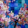 Hanami # 37 - 2009 - Acrylic on paper stuck on canvas - 80 X 80 cm