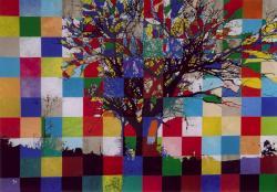 Partition # 22 - 2002 - Technique mixte sur papier marouflé sur bois - 50 X 70 cm